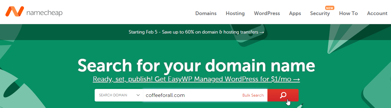 Search for Domain on Namecheap