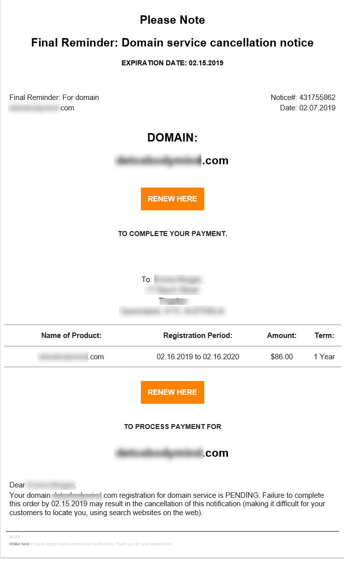 Domain Name Expiration Scam Email